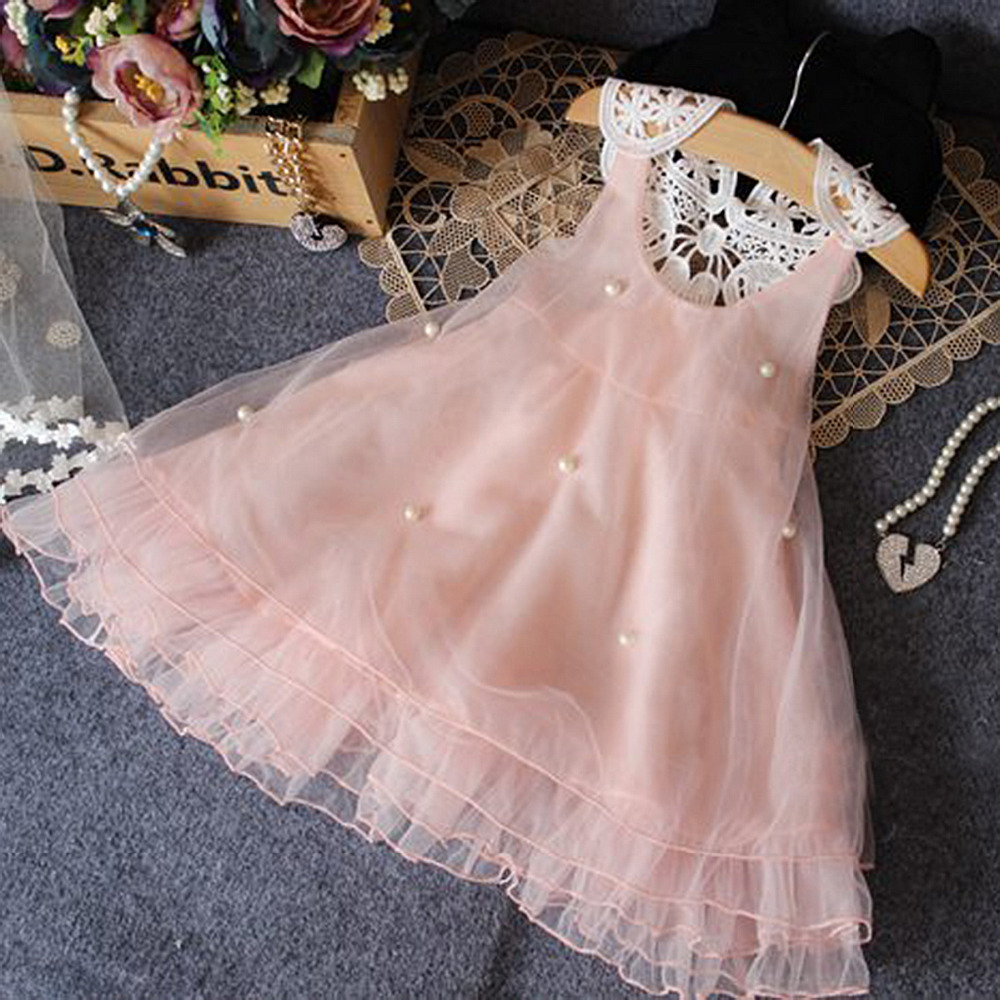 girls dresses 2017 sweet princess dress For 2-7 Years Children Kids Summer Princess Voile Cloth Sweet Lace Dresses For Girls купить недорого в Москве