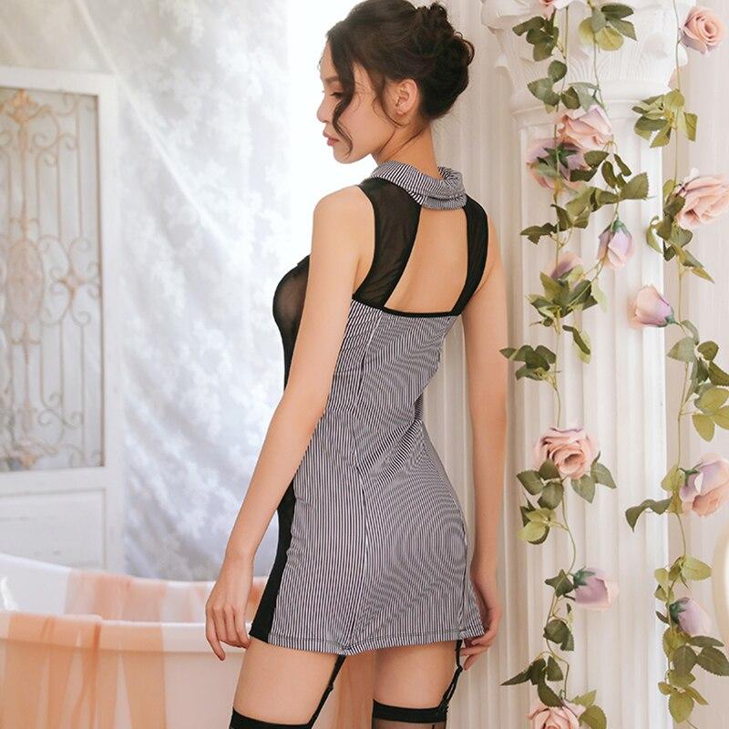 Image 5 - Соблазнительное женское нижнее белье, соблазнительное, в полоску, с поясомБелье бейбидолл и сорочки    АлиЭкспресс