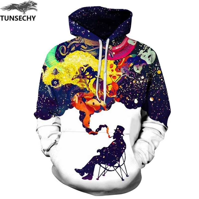 TUNSECHY Hoodies & Sweatshirts Men's Long Sleeve Autumn Winter Funny Print Smoking Person Hoody Casual Hoodies With Cap
