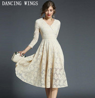 Khaki Yellow Pink Womens Long Sleeve Floral Lace Dress Sexy V Neck Slim Pleated Dress Evening Party Dresses