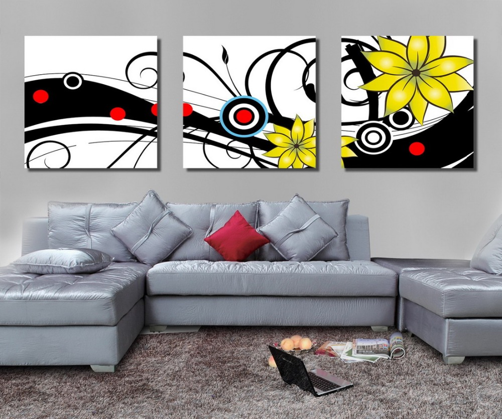 3 panel large modern flower canvas oil painting wall art picture for living room printed framed