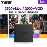 T95X 1 그램 + 8 그램 스마트 TV 박스 안드로이드 6.0 S905X 1 년 SUBTV 계정 APK HD IPTV 유럽 아랍어 프랑스어 영국 채널