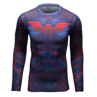 Men Crossfit Training Long Sleeve Compression Shirt Marvel 3D Superhero Batman T Shirt Fitness Tights For