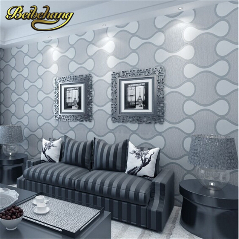 beibehang High Quality Non-woven Wallpaper 3d Geometry Striped Wall paper Embossed Flocking Glitter Background Wallcovering