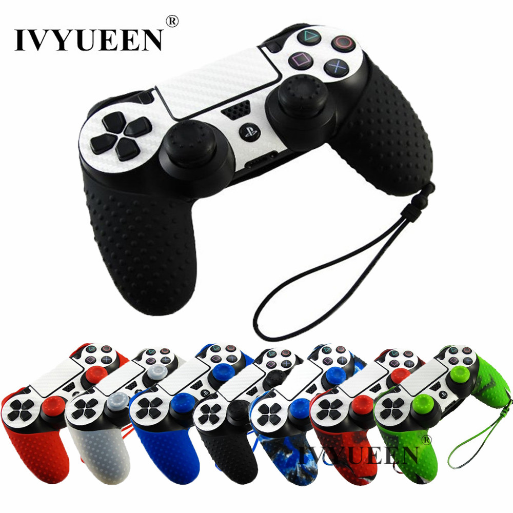 1 PCS Soft Silicone Protection Case with Hand Wrist Strap for Playstation 4 PS4 Wireless Controller + 2 pcs Grips Caps