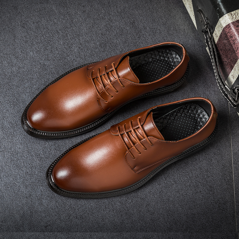 Men's Business Dress Casual Shoes Brown Pointed Shoes Men Soft Leather Fashion Mens Casual Comfortable Oxford Shoes