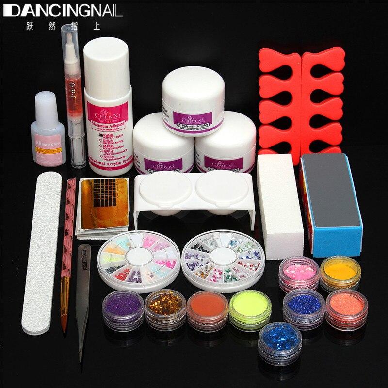 ФОТО Pro Nail Art Set Acrylic Powder Liquid Glitter UV Gel Glue Cuticle Revitalizer Oil Decal Wheel Sanding File Tips Manicure kits