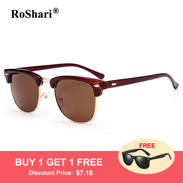 0e38a2f954 RoShari Vintage Polarized Sunglasses women brand designer Half Frame Retro  men driving sun glasses for women gafas de sol mujer