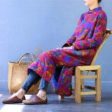 Scuwlinen 2019 novo inverno vestidos femininos vintage impressão artesanal placa botões grosso quente cozy algodão vestido solto longo robe s496