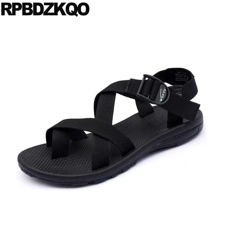 4dca599769096d Flat Strap Casual Sport Toe Loop Japanese Men Gladiator Sandals Summer  Canvas Roman Designer Black Shoes
