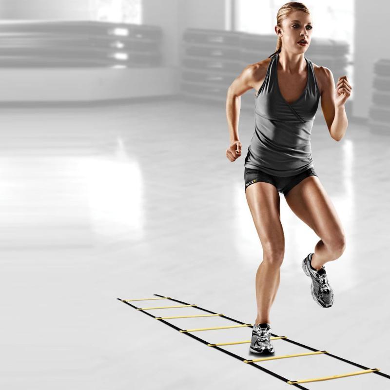 Durable 9 rung 16,5 pies 5 M Agility Ladder para el fútbol y el fútbol entrenamiento de velocidad Body Fitness Equipment