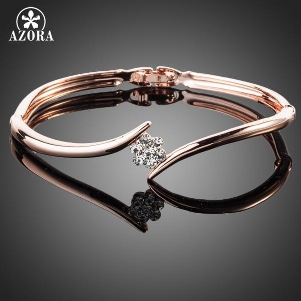 AZORA Rose Gold Color Stellux Austrian Crystal Rose Elegant Bangle Bracelet TB00