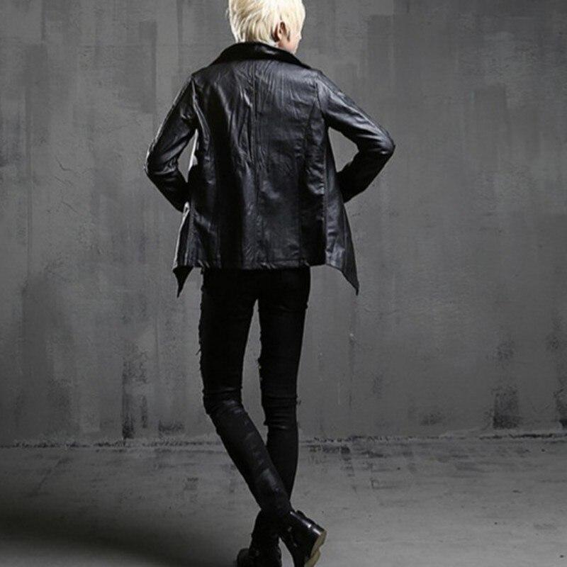 Nouveau Vintage hommes gothique col roulé Pu veste en cuir Slim Fit Punk Style vêtements d'extérieur manteau moto personnalité coupe-vent vestes - 3