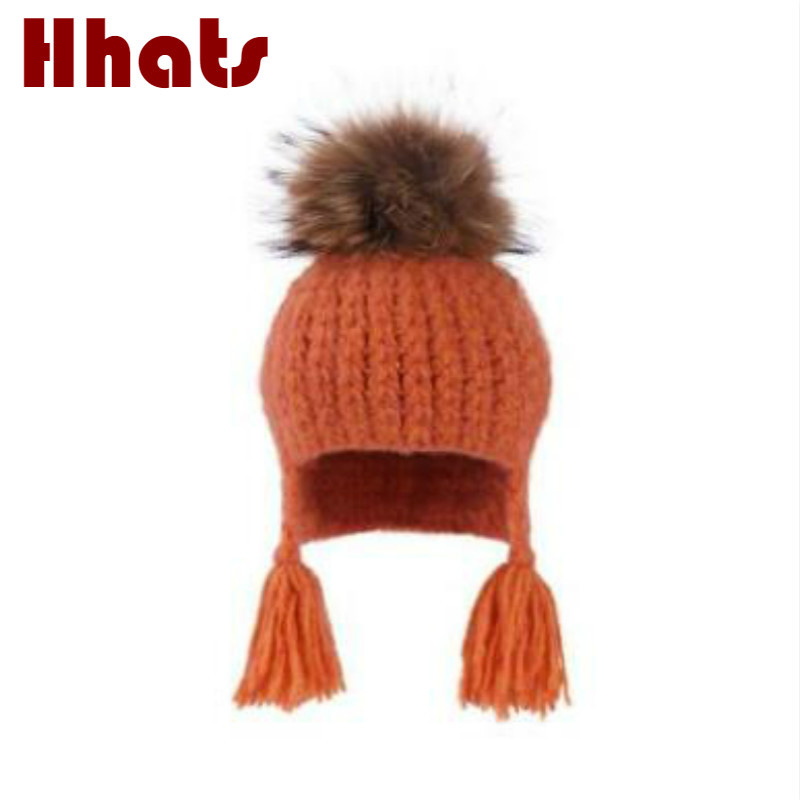 Detail Feedback Questions about which in shower casual children knitted  bomber hat with real raccoon fur pompom top fur pom pom ear flap winter hat  beanie ... c420768d0c08