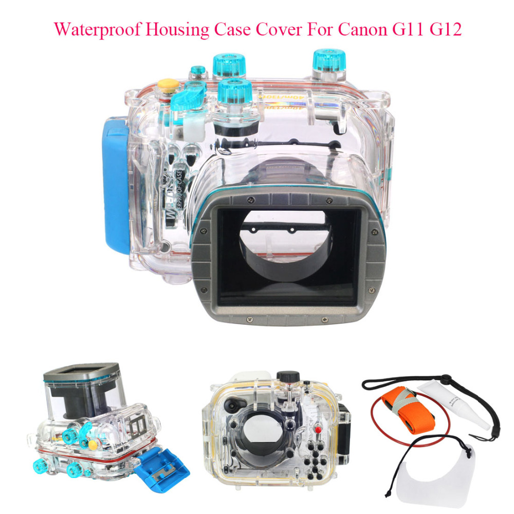 цена на Meikon 40M 130ft Waterproof Housing Case Cover For Canon G11 G12 as WP-DC34,Camera Underwater Diving Bags Case for Canon G11 G12