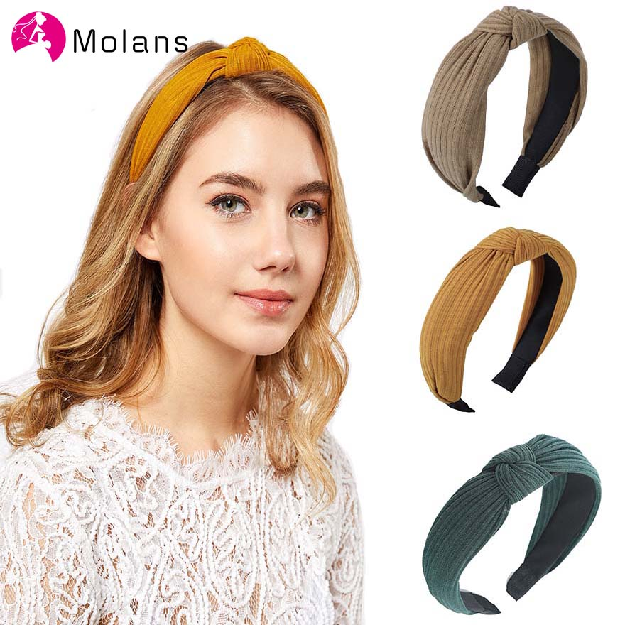Molans Solid Knitted Knotted Hairbands 2019 Simple Cloth Knotted Headbands Fashion Women Corduroy Hair Hoop Hair Accessories