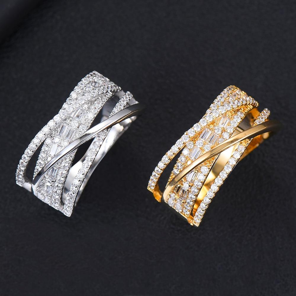 Inlaid Dubai African Style Luxury Bridal Wedding rings Geometric Handmade Full Mini AAA Cubic Zirconia Women Best Jewelry Gift