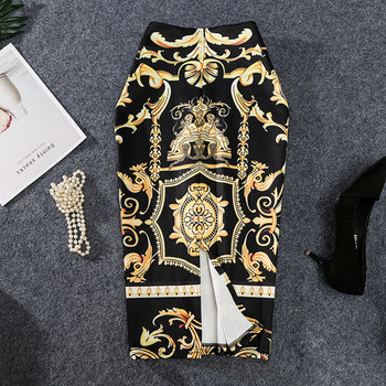 2019 New-Coming European Women Autumn Print Pencil Skirt High Stretch Abstract Pattern Midi Slip Hip Skirt Female 1