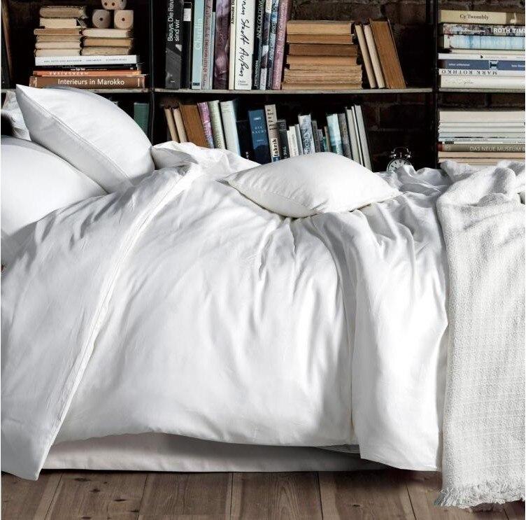 luxury 100 egyptian cotton solid white bedding set king queen size quilt duvet cover sheets bed designer bedroom bedsheet