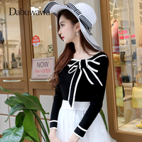 Dabuwawa Black Autumn Winter Knitting Long Sleelve Women Sweaters And Pullovers Vintage Bow Knitted Sweater