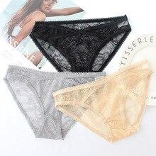 Wasteheart Women Fashion Black Skin Gray Cotton Lace Trim Low Waist Panties Underwear Female Briefs 3 Piece Color Underpants