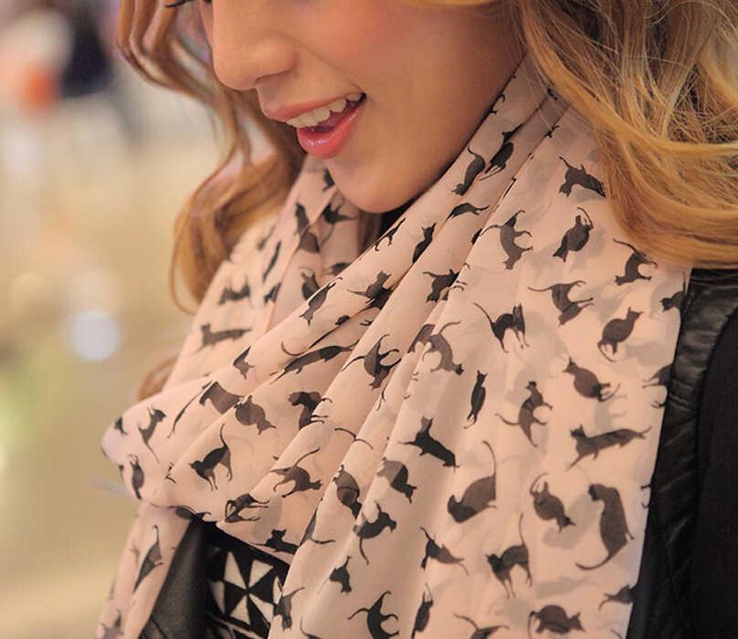 Mulheres Lenço de Chiffon 150*45 centímetros finos Lenços Da Cópia Do Gato do estilo Estrela Leopardo Xales E Cachecóis Melhor presente Do Partido 22009