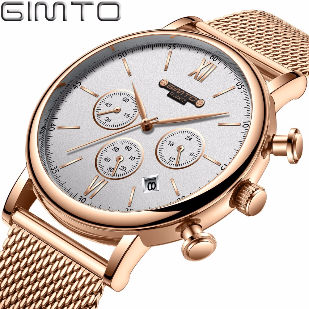 GIMTO Brand Luxury Watch Men Stainless Steel Rose Gold Quartz Wrist Watch Sport Men Watch Business Male Clock Relogio Masculino