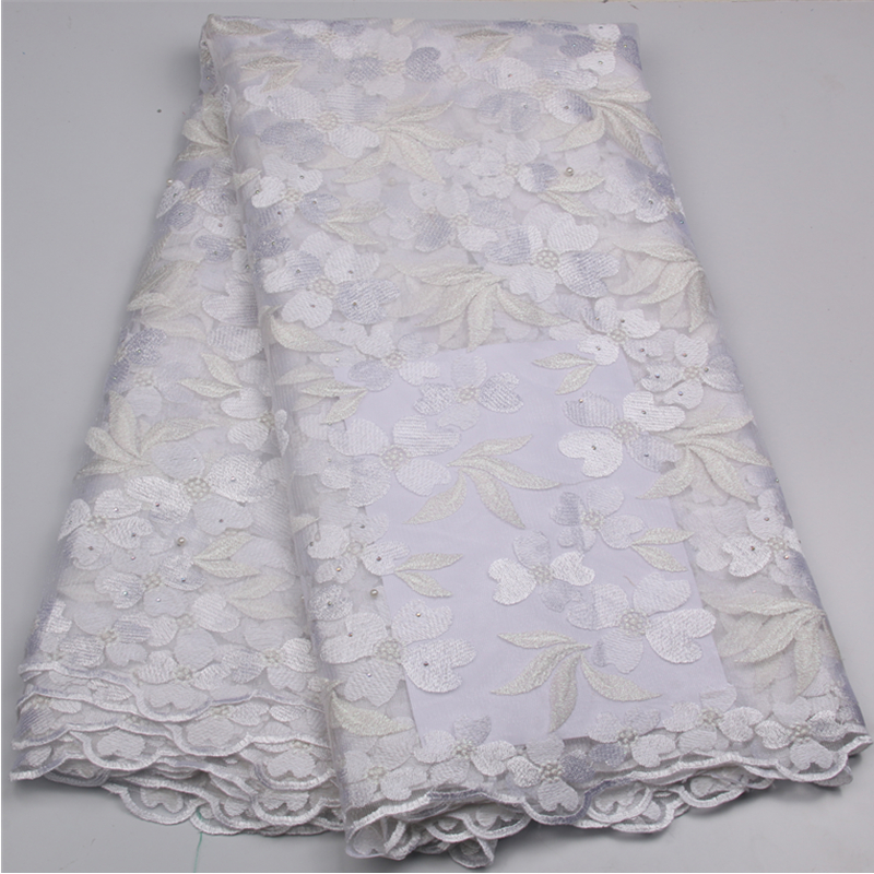 White Lace Fabric High Quality Cheap African French Net Lace Embroidery Tulle Lace Fabric For Nigerian