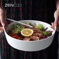 Creative Ceramic Salad Bowl with Double Handle Extra Deep Porcelain Serving Dish for Fruit Nuts Vegetable Plate Tableware