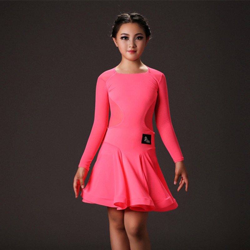 Picture of Green Long Sleeves Dance Costumes Kids Latin Dresses For Girls Rumba Samba Costumes Red Elastic Perspective Splicing Dancewear
