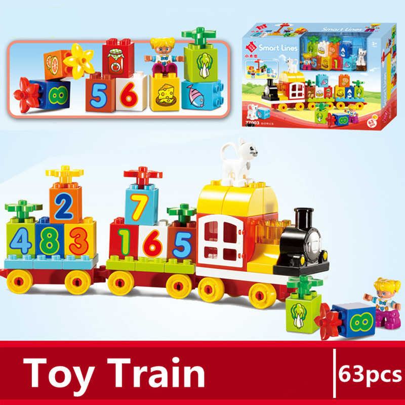 Diy Big size legoing duploe train building blocks compatible with Knowledge number locomotive toys for children Christmas gifts baby toys small train vehicle diy building blocks plastic stack number letter matching intelligent toy for children gifts 45pcs
