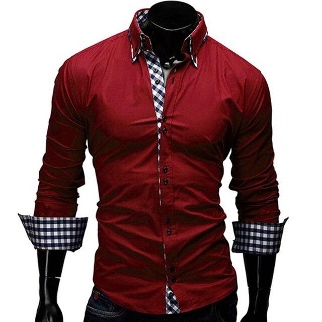 affb06659e3e 2019 Fashion Men Shirt Plaid Luxury Long Sleeve Dress Shirt Smart Casual  Slim Fit Stylish Dress Shirt Top Tee Tuxedo Clothes