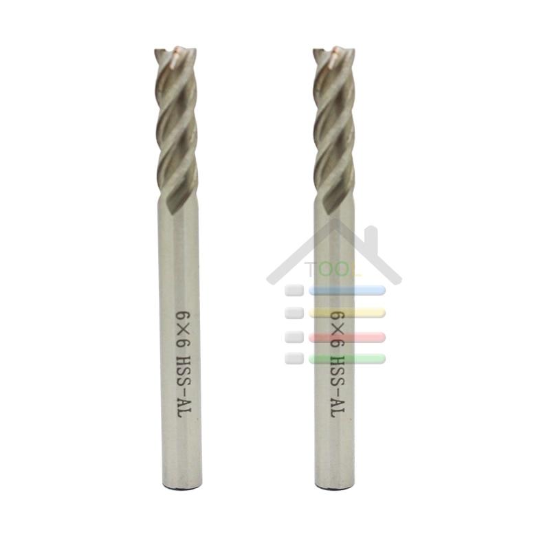 1pcs 6mm x 6mm 2 Flute HSS /& Aluminum End Mill Cutter CNC Bit