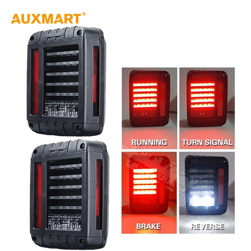 Auxmart EU / US Standard Pair of 66w LED Reverse Backup Tail Light for Jeep Wrangler JK 2007-2016 4x4 4WD 12V LED Running Lights auxmart 22 led light bar 3 row 324w for jeep wrangler jk unlimited jku 07 17 straight 5d 400w led light bar mount brackets