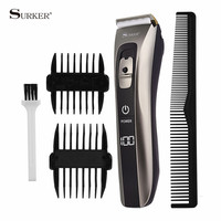 Waterproof Professional Hair Clipper LED Display Electric Hair Trimmer Beard Trimer Low Noise Hair Cutting Machine For Men Baby
