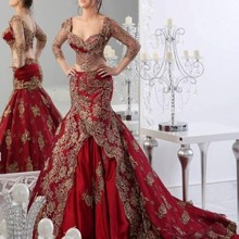 Fnoexw Vintage Burgundy Gold Wedding Dresses Long Sleeves