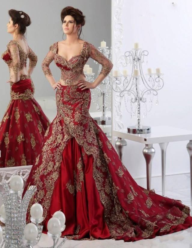 d0627cf7158a New Vintage Burgundy Gold Two Pieces Mermaid Muslin Arabic Wedding Dresses  Long Sleeves Appliques Colorful Bridal Gowns