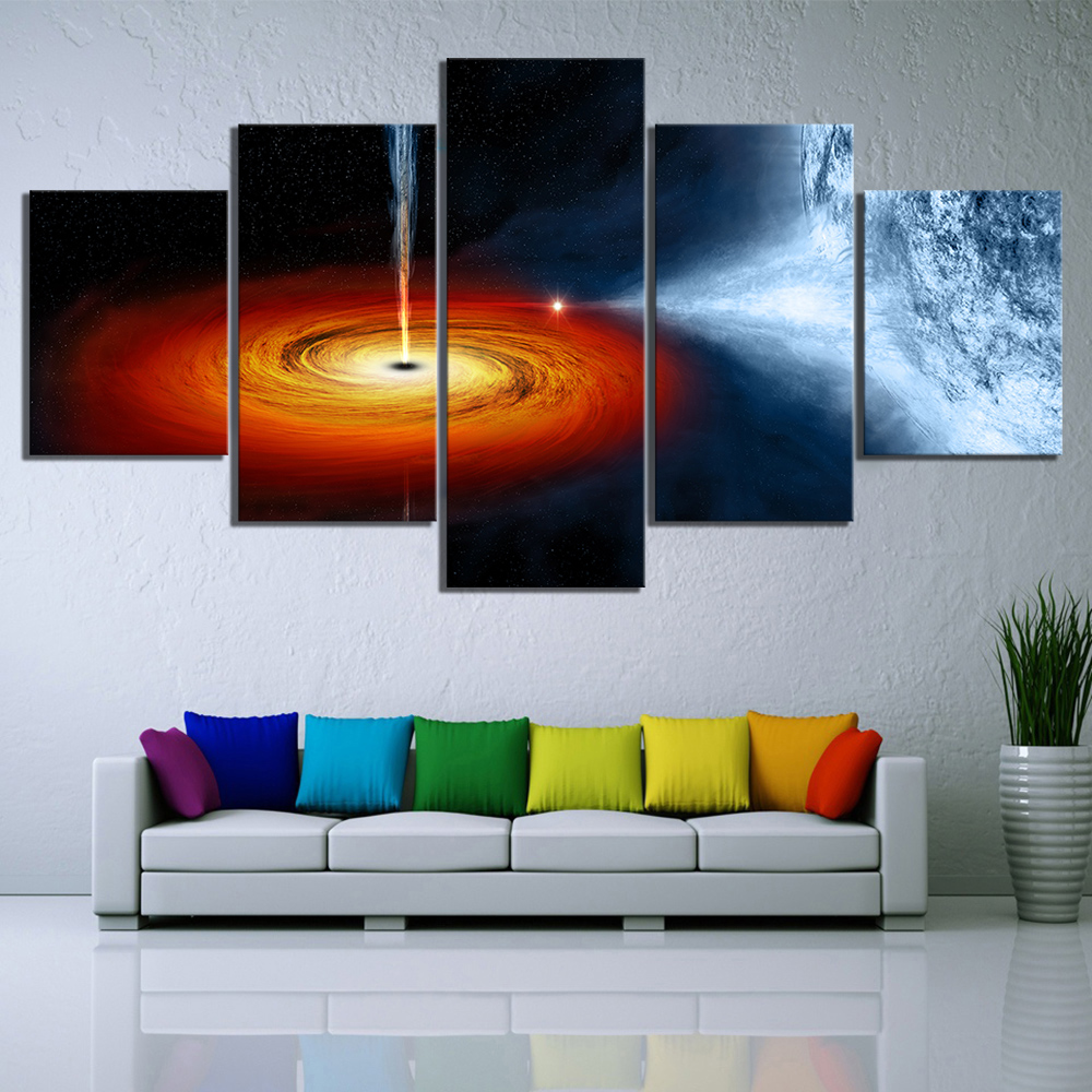 5 Piece Fantasy Art Outer Space Black Hole Poster HD Wall Sticker Canvas Paintings The Milky Way Picture Wall Art Paintings 2