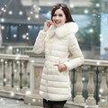 Женская хлопка-ватник 2015 зима средней длины вниз хлопка плюс размер куртки женские тонкие дамы куртки и пальто парка