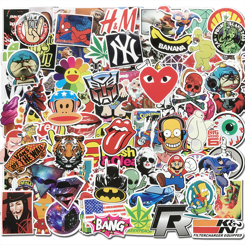 100Pcs Fashion Vinyl Tide Brand Cool Stickers For Skateboard Luggage Motorcycle Laptop Car Styling Cool Sticker Bomb JDM Decals