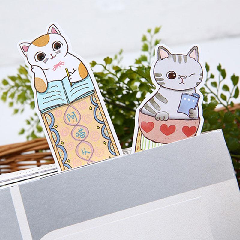 Купить с кэшбэком 30 pcs/box creative Lovely Cute cat bookmark stationery bookmarks Kawaii Cartoon Promotional Gift  school supplies papelaria