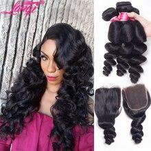 Loose גל חבילות עם סגירה ברזילאי שיער weave חבילות עם סגר ללא רמי רטוב וגלי שיער טבעי חבילות עם סגירה