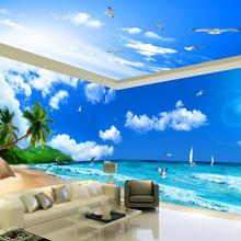 Обои для гостиной с видом на море пляж Кокосовое Дерево Тема пространство украшение дома