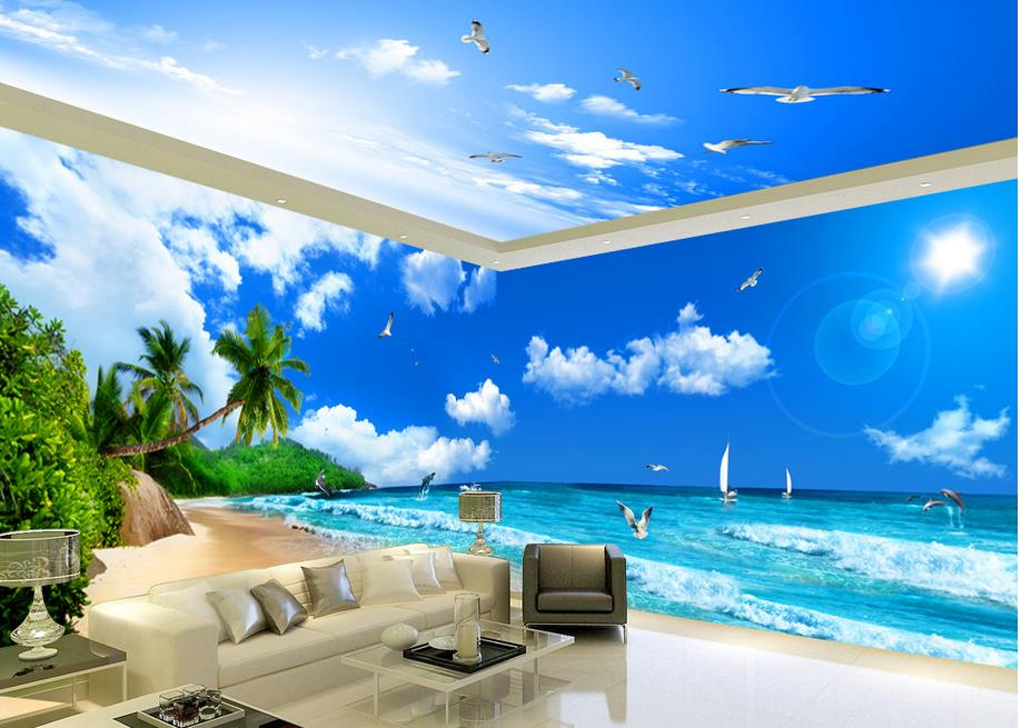 ФОТО Wallpapers for living room Seaview Beach Coconut Tree theme space Home Decoration