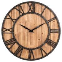SZS Hot Wall Clock, Creative Round Silent Wooden Wall Clock Decorative Clock for Living Room Kitchen Bathroom Bedroom
