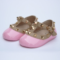 Cute Newborn Girl Studs First Walkers Patent Leather Shoes 3 18M Baby Rivet T Strape First