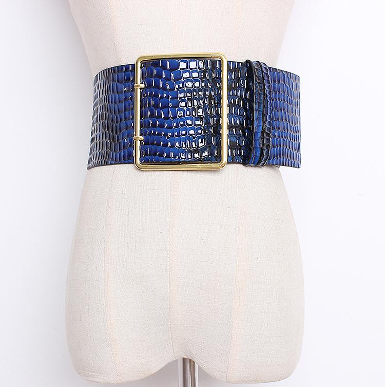 Women's Runway Fashion Crocodile Pu Leather Cummerbunds Female Vintage Dress Corsets Waistband Belts Decoration Wide Belt R1268