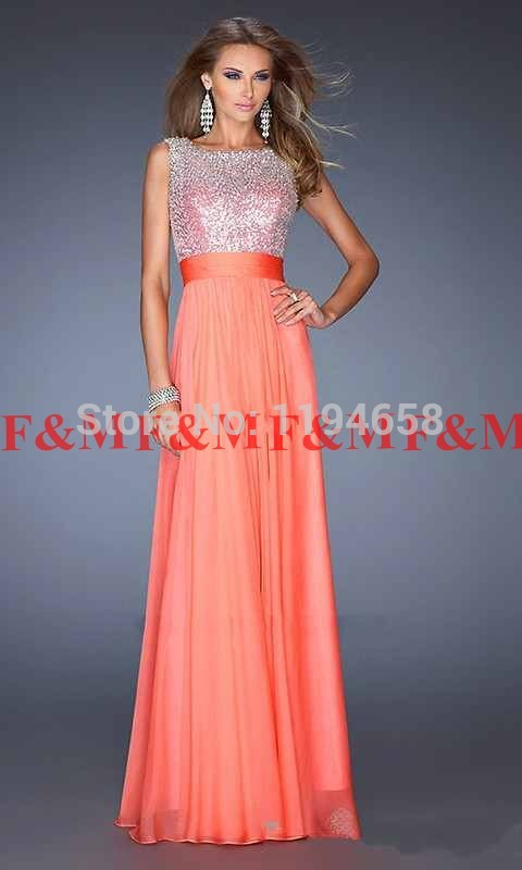 2016 Fashion Elegant A Line Violet Chiffon Prom font b Dresses b font Floor Length Sequined
