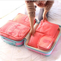 6pcs Families Travel Clothes Underwear Socks Storage Bags Packing Cube Luggage Bag Organizer For Six Sizes