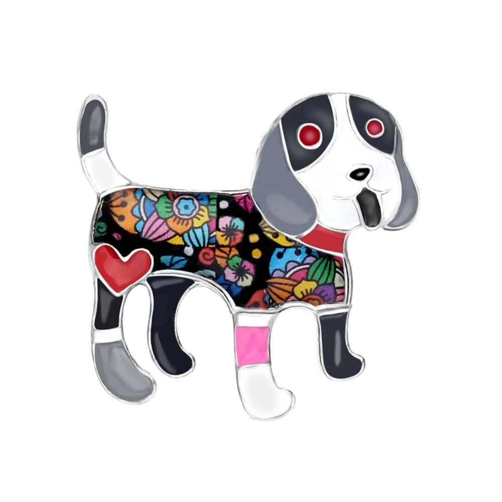 Bonsny Laporan Logam Enamel Beagle Dog Bros Lucu Kartun Hewan Perhiasan Pin untuk Syal Pakaian Wanita Anak Perempuan Dekorasi Hadiah